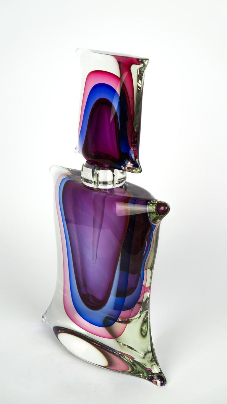 Atelier Oball Mid-Century Modern Two of Murano Glass Bottles Sommerso, 1994s For Sale 3