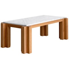 Atelier Orange Oak and Marble Coffee Table