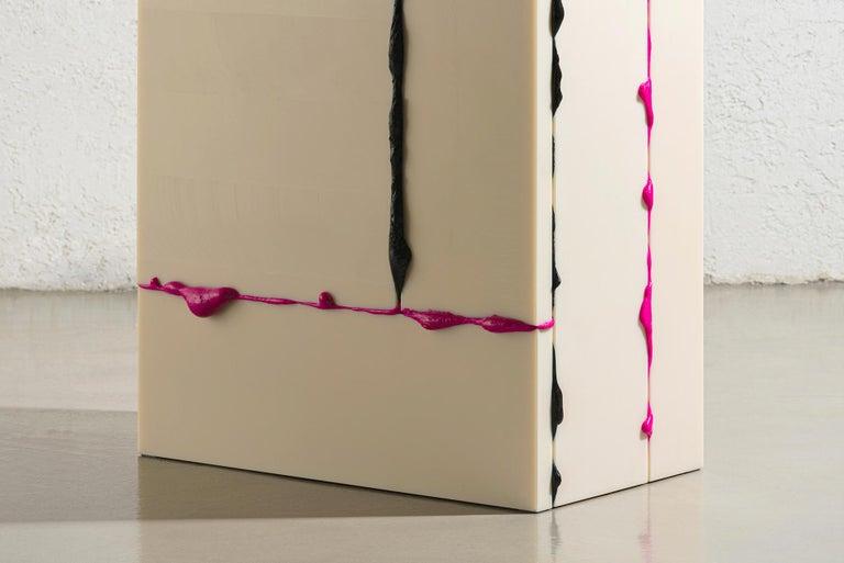 Korean Atelier Sohn Contemporary Plastic Pink Black Side Table from