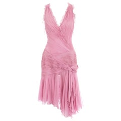 Atelier Versace baby pink silk pleated mini evening dress, ss 2004