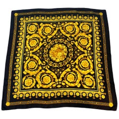 Atelier Versace Black and Gold Baroque Print Silk Twill Scarf