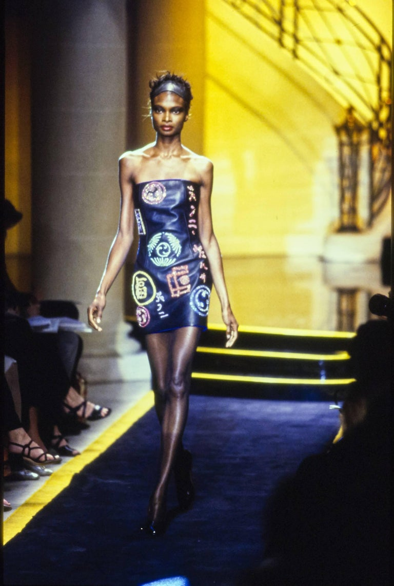 Atelier Versace black leather embellished mini dress, A / W 1997 For Sale 7