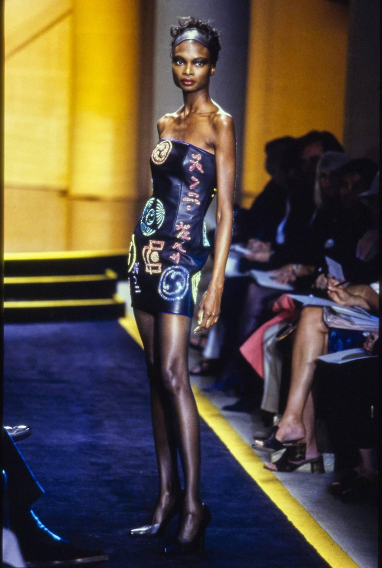 Atelier Versace black leather embellished mini dress, A / W 1997 For Sale 8