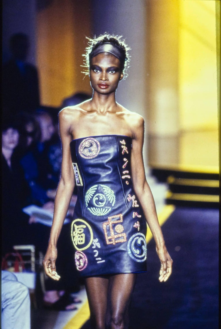 Atelier Versace black leather embellished mini dress, A / W 1997 In Excellent Condition For Sale In London, GB