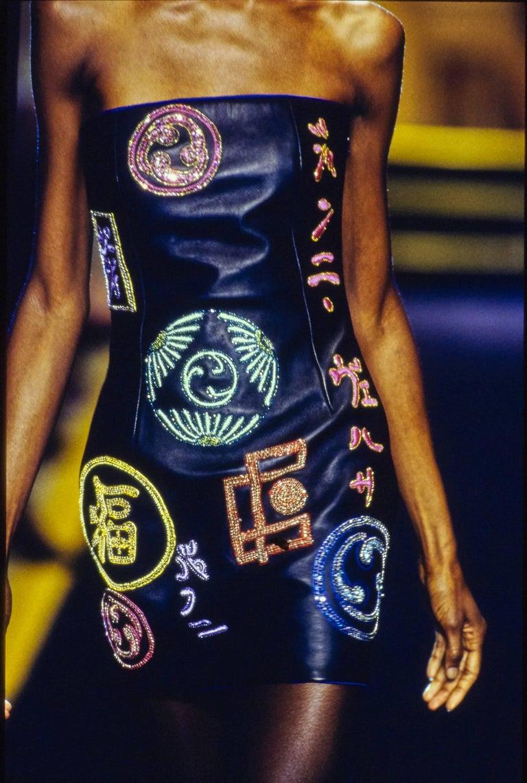 Women's Atelier Versace black leather embellished mini dress, A / W 1997 For Sale