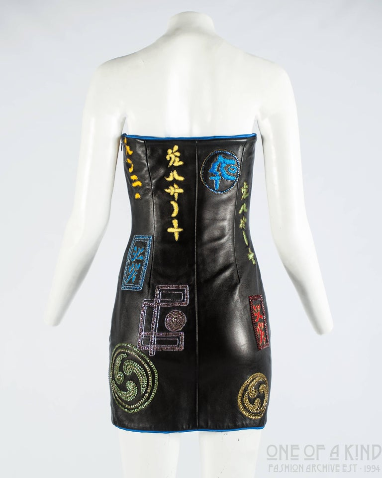 Atelier Versace black leather embellished mini dress, A / W 1997 For Sale 2