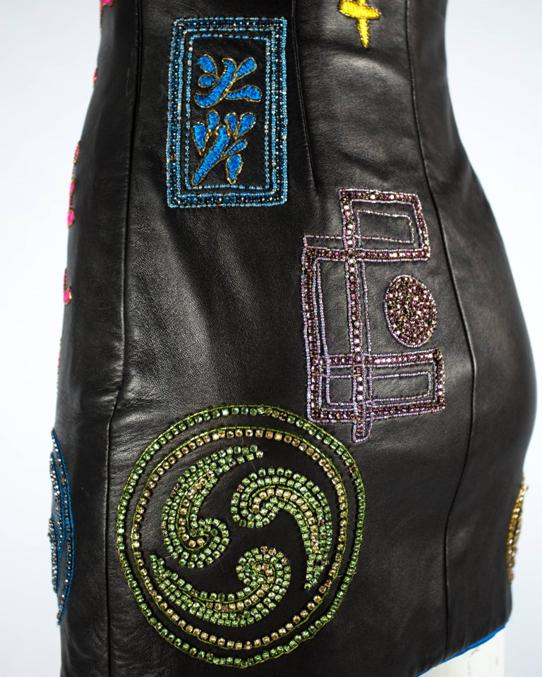 Atelier Versace black leather embellished mini dress, A / W 1997 For Sale 4