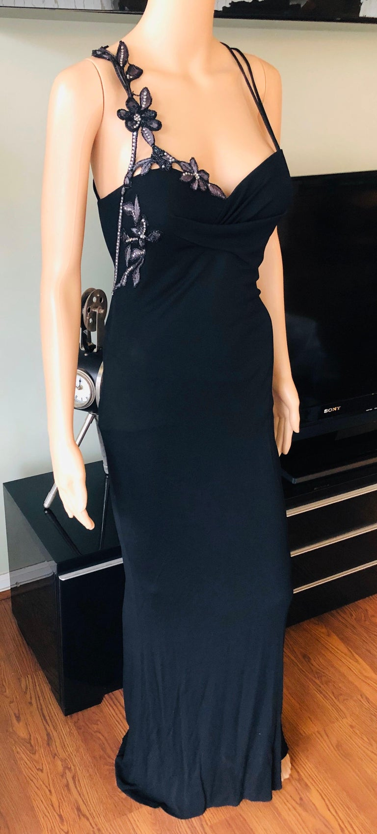 Black Atelier Versace by Gianni Versace Haute Couture Embellished Evening Dress Gown For Sale