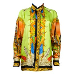 Atelier Versace Couture Printed Silk Shirt Circa 2004