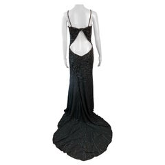Atelier Versace Haute Couture c.1999 Crystal Embellished Cutout Train Dress Gown