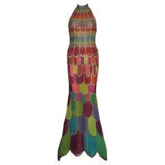 Atelier Versace Multicolor Beaded Silk Evening Mermaid Gown Dress Haute Couture