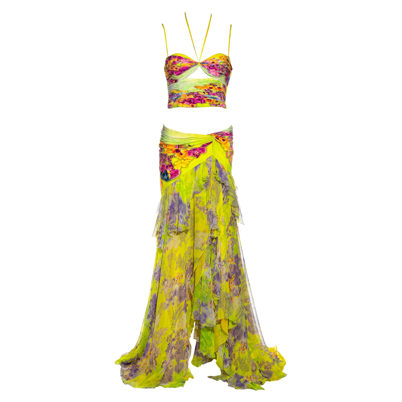 Atelier Versace neon coloured silk corset and maxi skirt set, ss 2004
