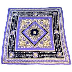 Atelier Versace Purple and Black Floral Ganymede Print Silk Twill Scarf