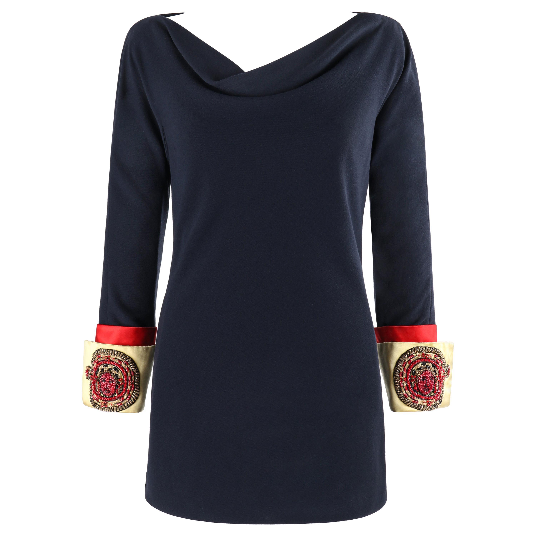 ATELIER VERSACE S/S 1990 Mini Navy Embellished Medusa Cuff Sleeve Tunic Dress