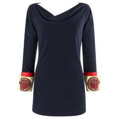 ATELIER VERSACE S/S 1990 Mini Navy Embellished Medusa Cuff Sleeve Tunic Dress
