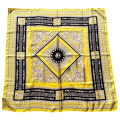 Atelier Versace Yellow and Black Floral Ganymede Print Silk Twill Scarf