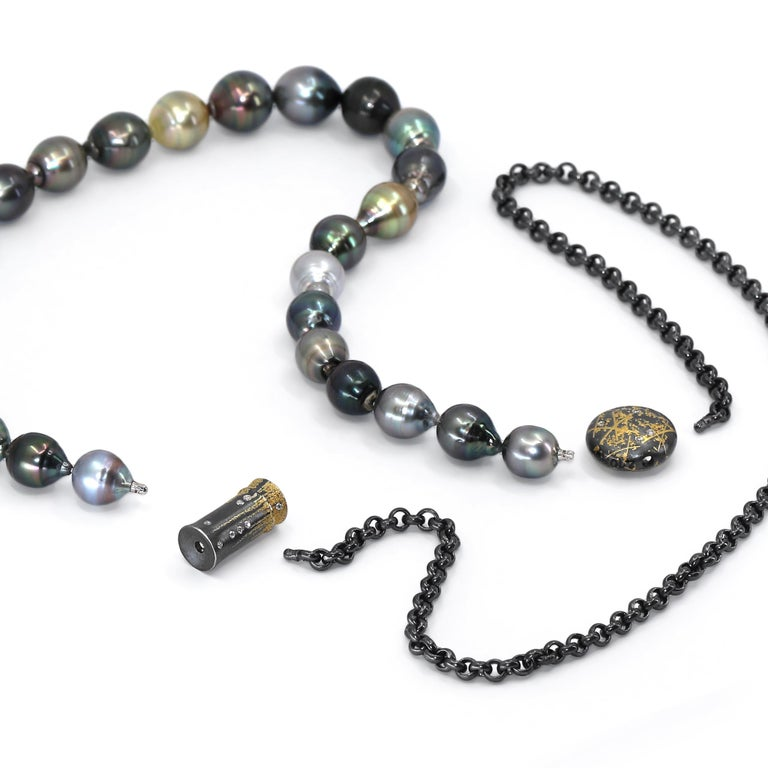 One of a Kind Necklace handcrafted in Germany by renowned, award-winning jewellery maker Peter Schmid of Atelier Zobel, featuring a stunning 16 inch strand of multicolored Tahitian and South Sea baroque pearls connected to an 18 inch black