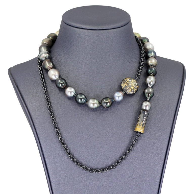 Artist Atelier Zobel Baroque Tahitian Pearl Multi-Convertible Clasp Long Chain Necklace For Sale