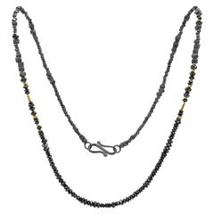 Atelier Zobel Black Diamond Faceted Oxidized Silver 24k Gold Beaded Necklace