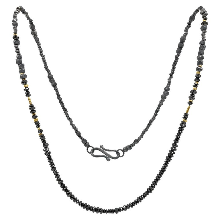 Atelier Zobel Black Diamond Faceted Oxidized Silver 24k Gold Beaded Necklace For Sale