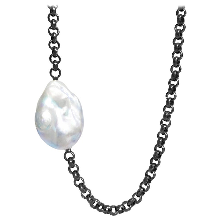 Atelier Zobel Exceptional Freshwater Baroque Pearl Black Trace Chain Necklace For Sale