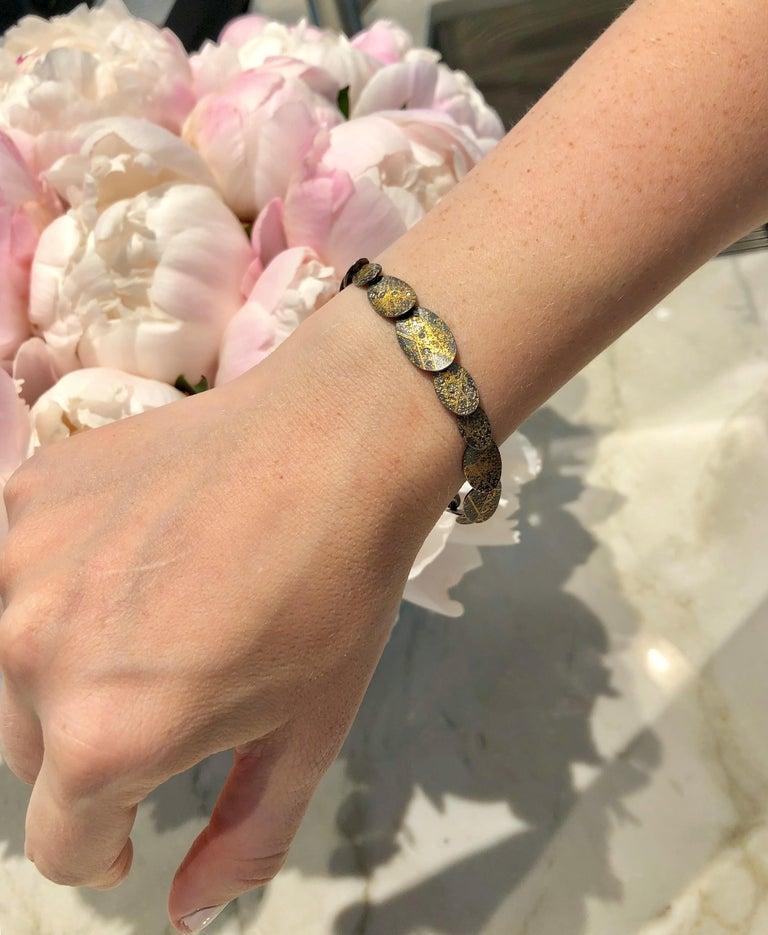 Artisan Atelier Zobel White Diamond Gold Oxidized Silver Handmade Oval Links Bracelet For Sale