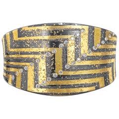 Atelier Zobel One of a Kind White Diamond 24K Gold Oxidized Silver Cuff Bracelet