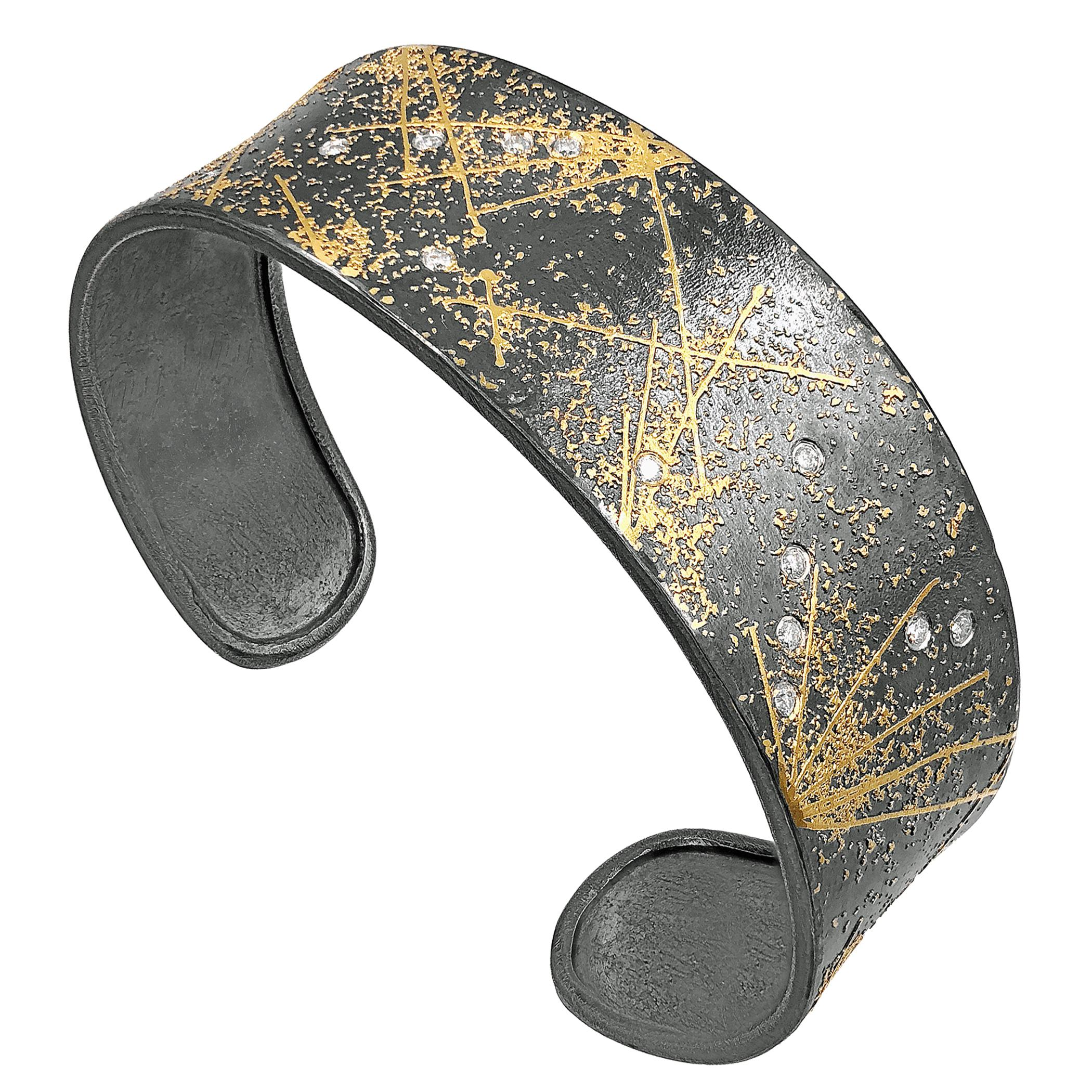 Atelier Zobel One of a Kind White Diamond Oxidized Silver Gold Fireworks Cuff
