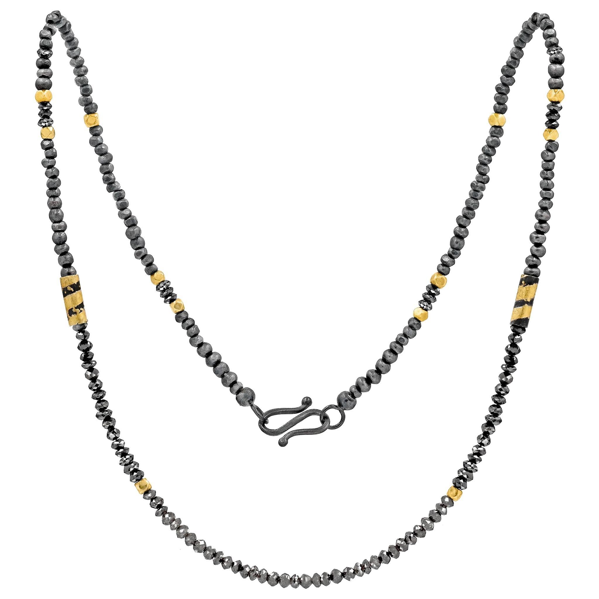 Atelier Zobel Salt Pepper and Black Diamond Gold Oxidized Silver Dazzle Necklace