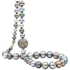 Atelier Zobel Tahitian Pearl Diamond Coin Clasp One of a Kind Necklace