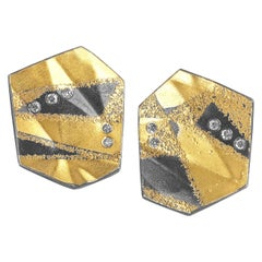 Atelier Zobel White Diamond Folded Gold Oxidized Silver Post Clip Stud Earrings