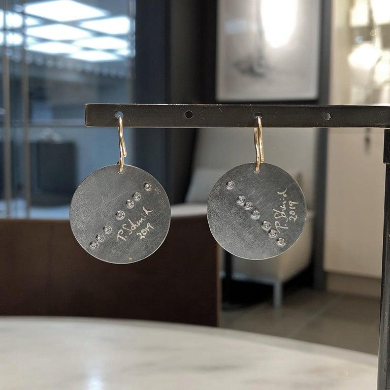 Artist Atelier Zobel White Diamond Gold Oxidized Silver Curved Disc Drop Earrings For Sale
