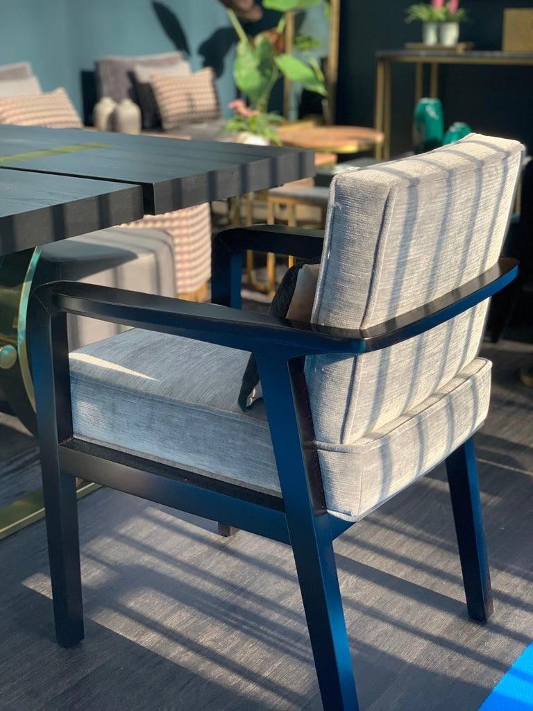 Art Deco Atena Carver Chair in Beechwood Black Ebony Finish and Ribbed Velvet For Sale