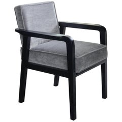 Atena Carver Chair in Beechwood Black Ebony Finish and Ribbed Velvet