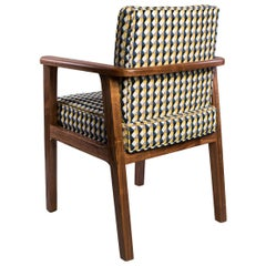 Atena Carver Chair in Walnut Upholstered with Rio Fabric