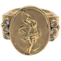 Athena 18 Karat Yellow Gold, Diamond Ring