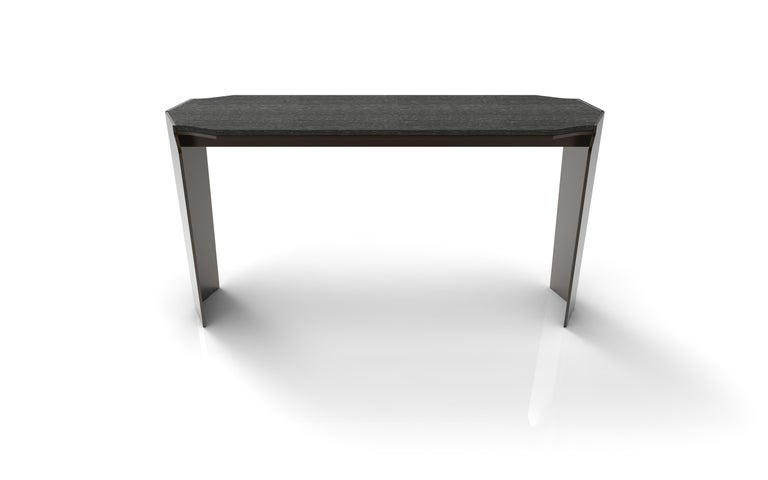 American Athena Console, Entry Table Contemporary Sheild Leg, Dark Bronze Patina, Marble For Sale
