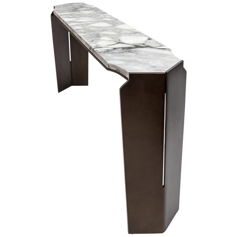 Athena Console, Entry Table Contemporary Sheild Leg, Dark Bronze Patina, Marble For Sale