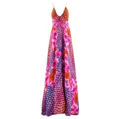 Athena Procopiou Floral Print Silk Long Dress SIZE 2