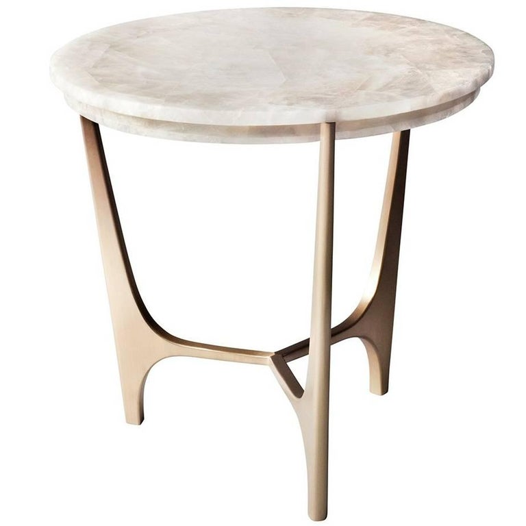 Athena Side Table by DeMuro Das in White Quartz with Hand-Cast Solid Bronze Base