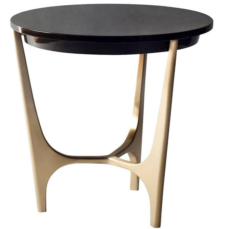 Athena Side Table by DeMuro Das with Black Marquina Marble Top and Bronze Base