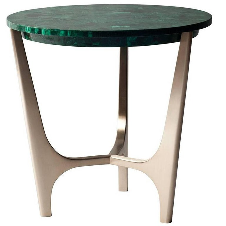 Athena Side Table by DeMuro Das with Malachite Top and Solid Bronze Base