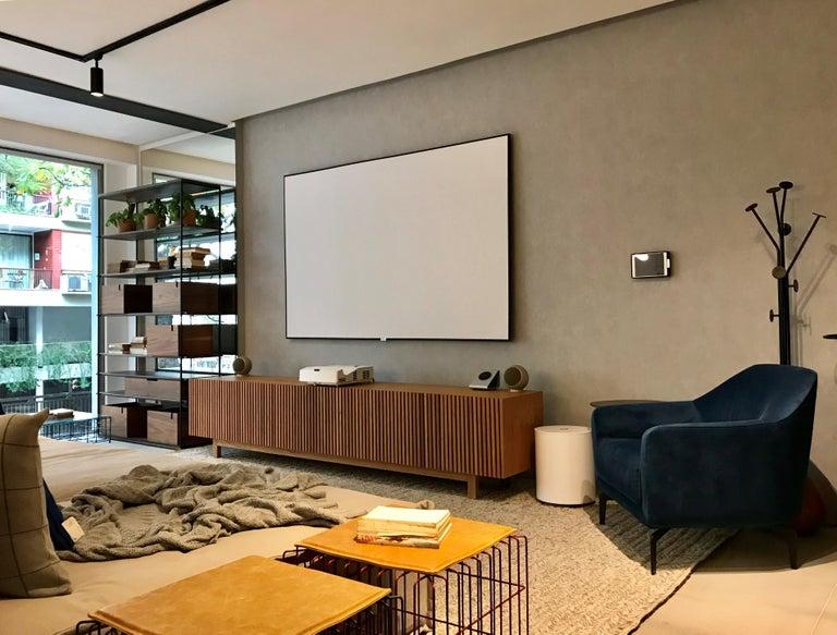 Modern 'Athena' Woodwork Natural Walnut TV Holder and Media Credenza with Drawer For Sale