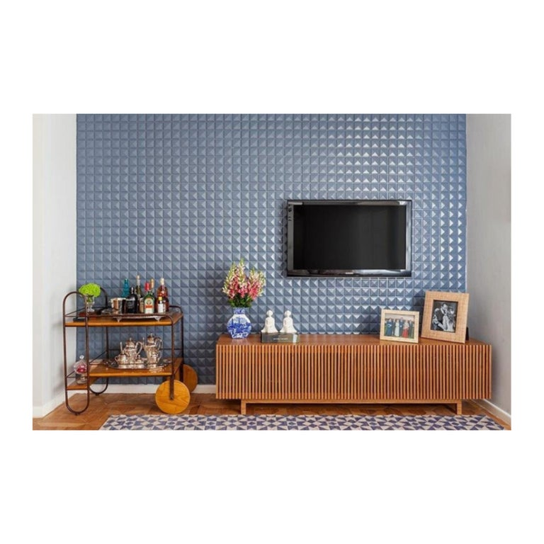 Brazilian 'Athena' Woodwork Natural Walnut TV Holder and Media Credenza with Drawer For Sale