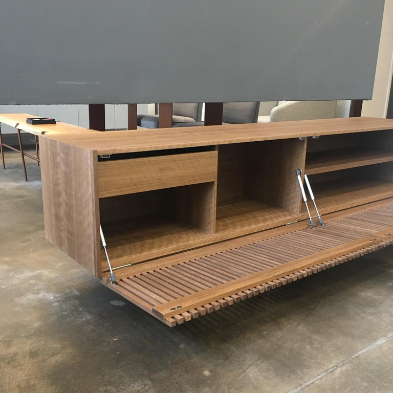 Athena Woodwork Natural Walnut Tv Holder And Media Credenza With