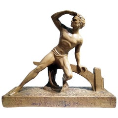 """Athlete"" Terracotta Sculpture Signed ""Le Lourme"""