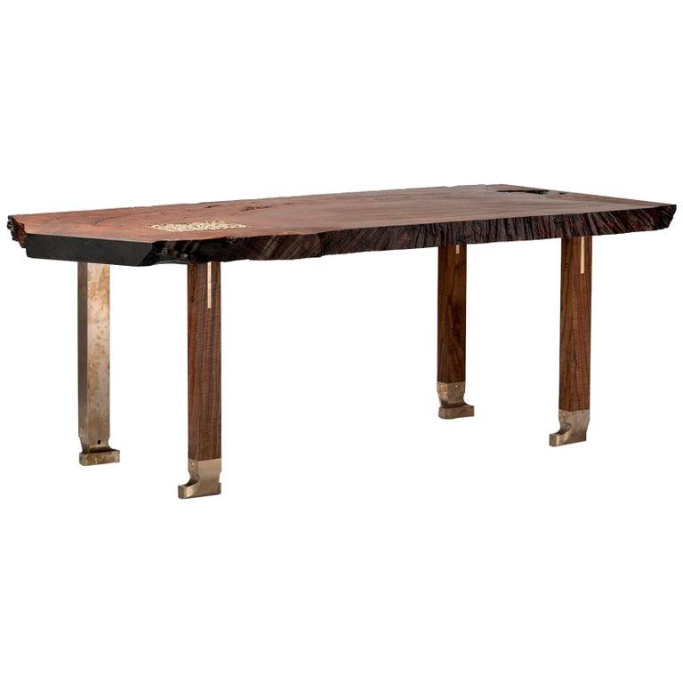 Pommele Old Growth Redwood Athol Desk  For Sale