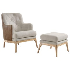 Athos Armchair Upholstered in Leather and Fabric with Stool, Both in Teak Finish