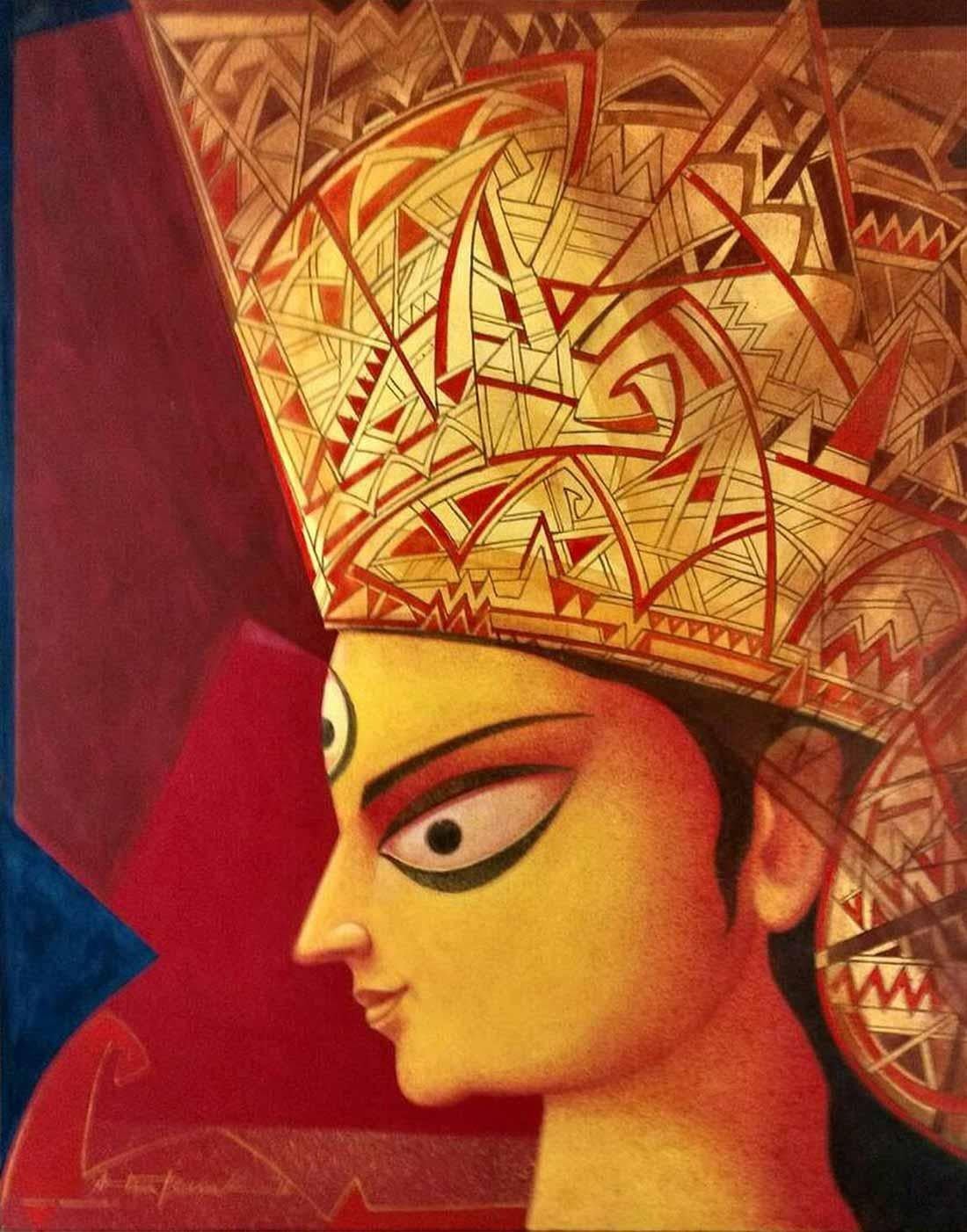 """Durga, Indian Goddess, Mythology, Tempera on Board, Red, Yellow colors""""In Stock"""""""