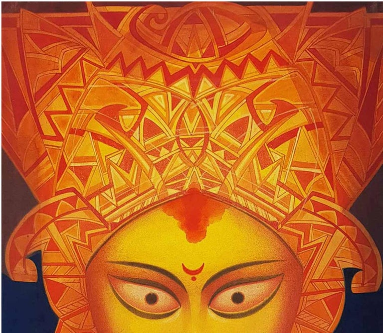 Durga, Indian Goddess, Tempera on Board, Red, Yellow by Indian Artist